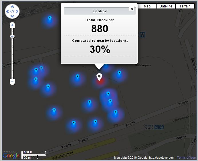 Heatmap as generated by Geotoko per location in the campaign
